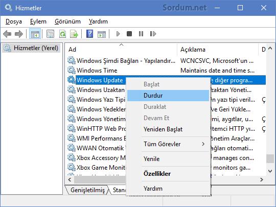 Windows update servisini durduralım