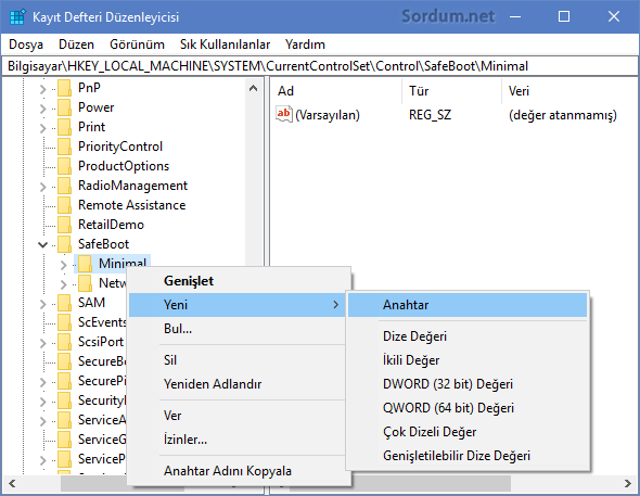 Registryde yeni anahtar oluşturma