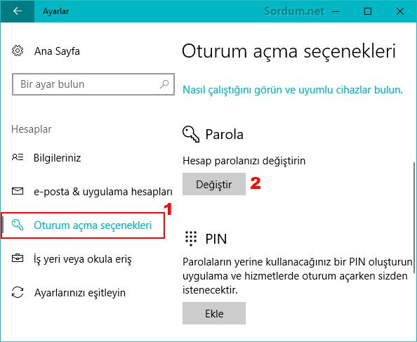 windows 10 da parola değiştir