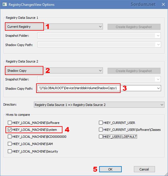RegistryChangesView arayüzü