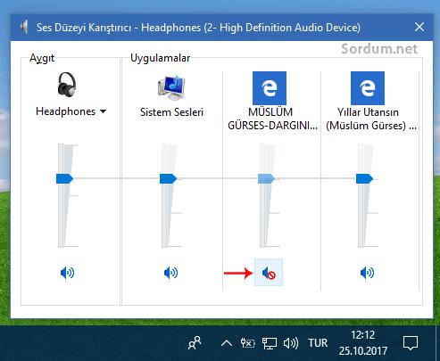 Microsoft edge de sekme susturuldu