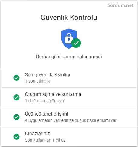 Google hesabı güvenli hale getirildi