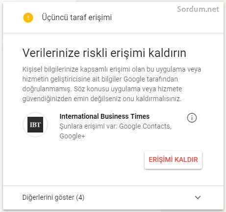 Google güvenlik üçüncü taraf erişimi
