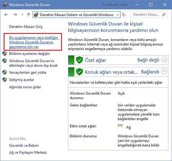 Windows güvenlik duvarı ile uzak bağlantı izni