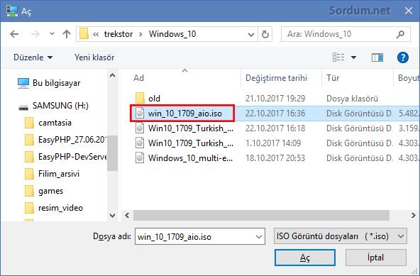 hyper v de iso dosyasını seçme