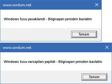 vbs ile windows tuşunu yasaklama