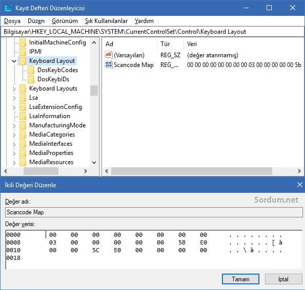 windows tuşunu devre dışı bırakıcı registry kaydı