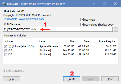 Windowstan sanal disk imajı oluşturma