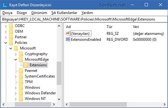 Microsoft EDGE ye eklenti kurulmasın