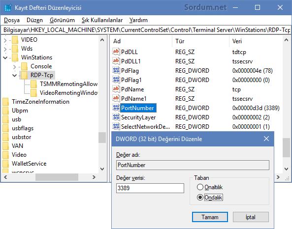 RDP port numarası registry değeri