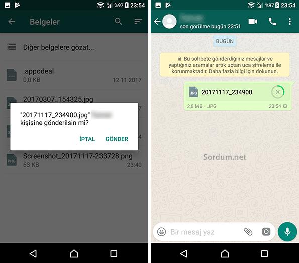 whatsapp belge gönderme