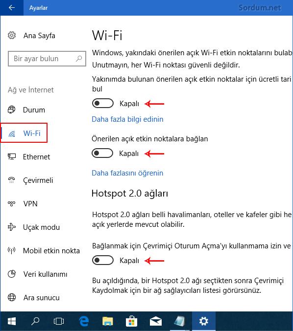 wifi özelliklerini kapatalım