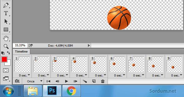 Photoshop topun düşme animasyonu