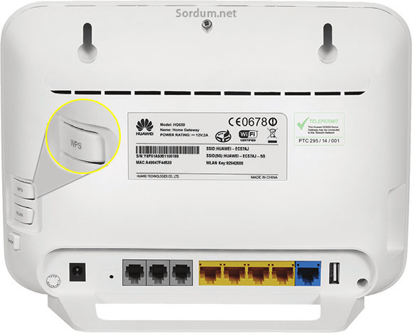 huwai modemde wps düğmesi