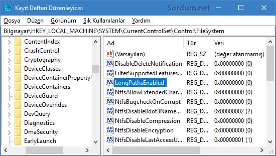 longpathsenabled registry anahtarı