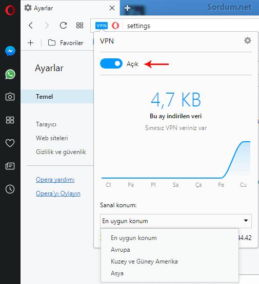 Opera VPN çalışıyor