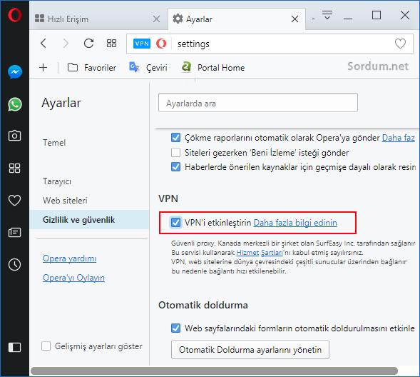 OPerada VPN yi etkinleştir