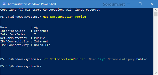 powershell ile ağ profili