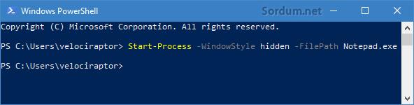 powershell ile gizlice program çalıştırmak