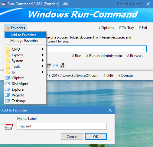 run-command a favori ekleme