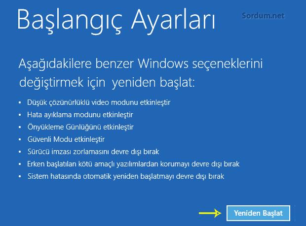 Windowsu yeniden başlat