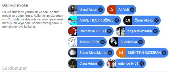 youtube gizli kullanıcılar