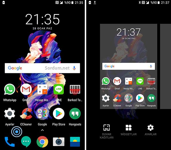 Android ikon ayarları