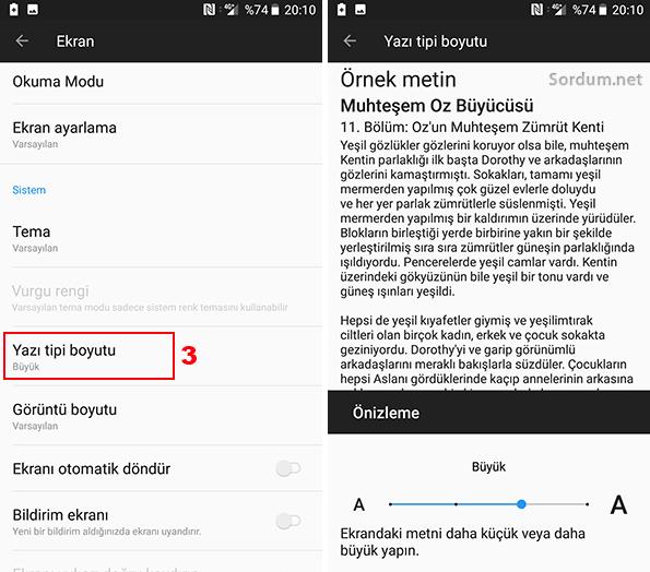 Android telefonda yazı boyutunu arttırma