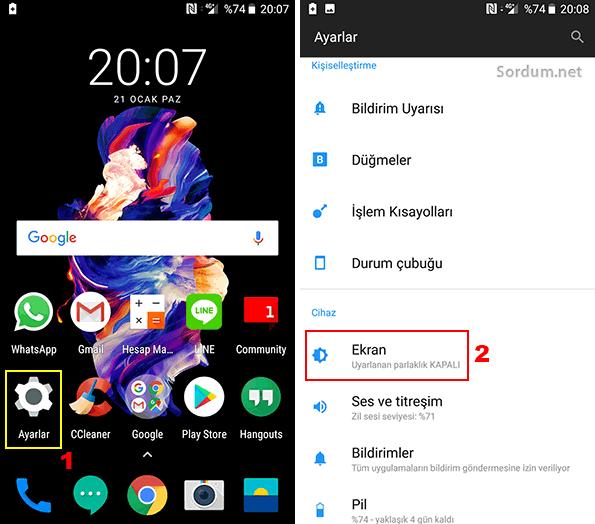 Android yazı tipi boyutu