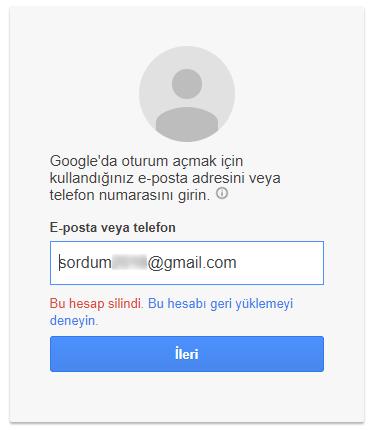 silinen gmaili kurtarmak