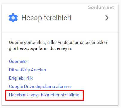 Gmailde hesap tercihleri