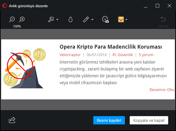 Opera görüntü düzenleme aracı
