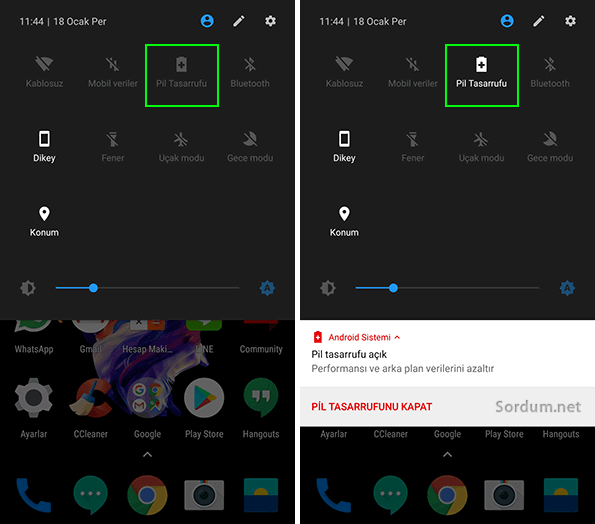 Android Oreo da pil tasarrufunu açmak