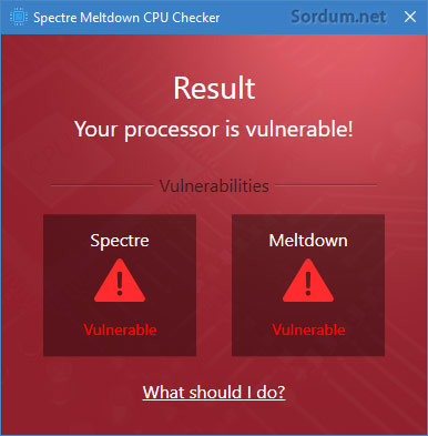 spectre meltdown cpu checker sonucu