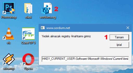 vbs ile registry anahtar yedeği