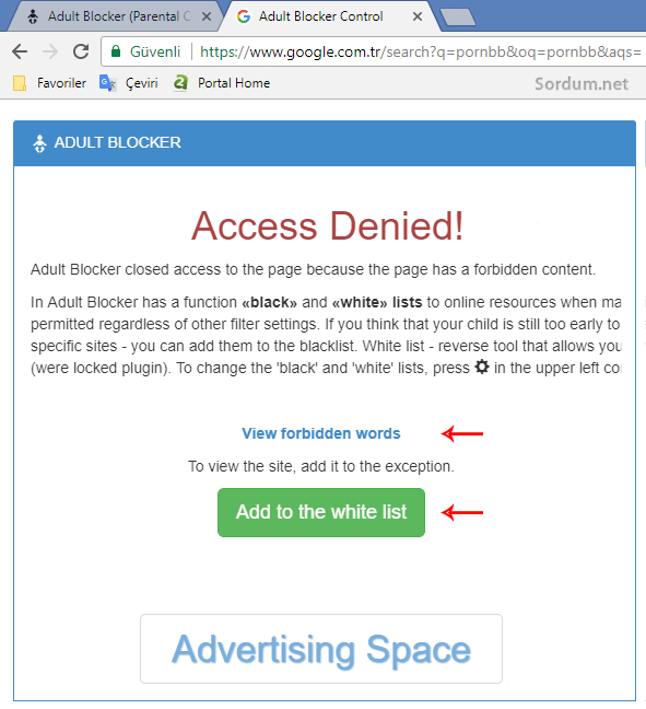 Adult Blocker erişim engellendi