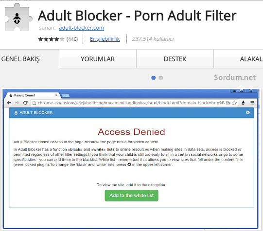 Adult blocker indirme sayfası