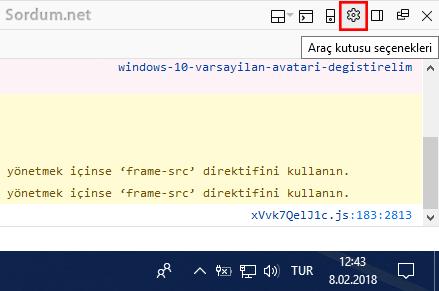 Firefox araç kutusu seçenekleri