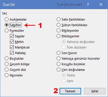 Excel git sabitler