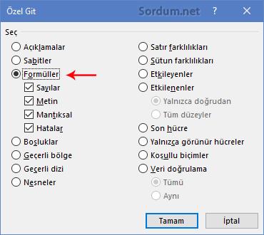 Excel özel git formüller
