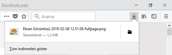 Firefox tam sayfa ekran görüntüsü alındı