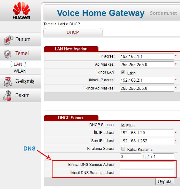 Huwai modemde DNS değiştirme