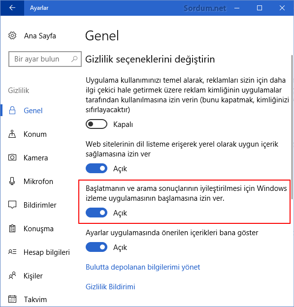 Windows izlemeye izin ver