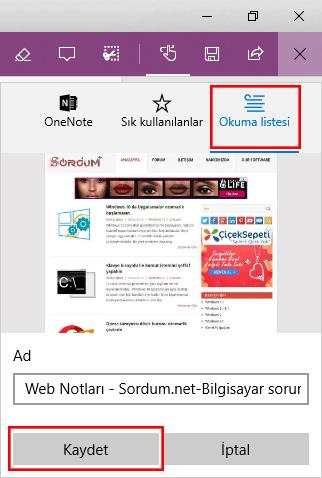 Edge Ekran resmini okuma listesine kaydetmek