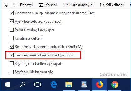 Firefox tüm sayfanın ekran görüntüsünü al seçeneği