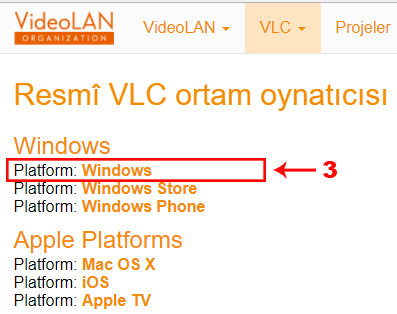 vlc windows paltformu