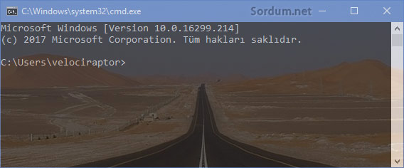 Windows 10 şeffaf cmd