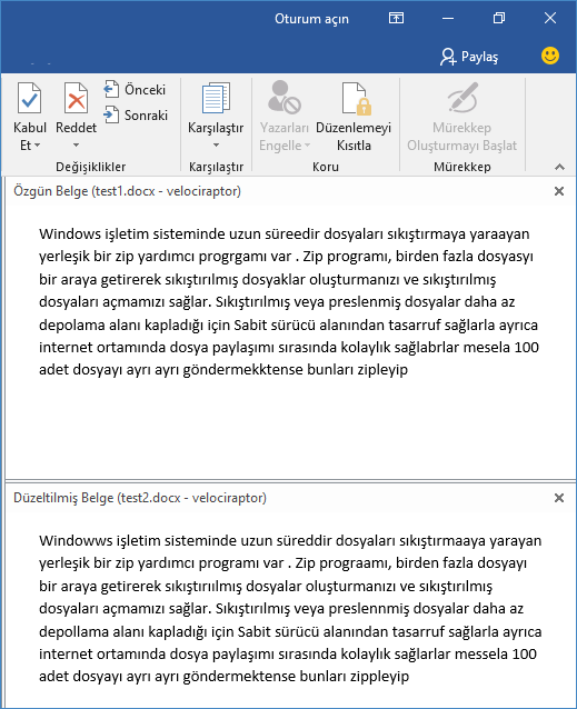 Word belgesi farkları