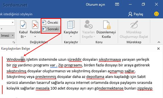 Microsoft Word Önceki - Sonraki farklar
