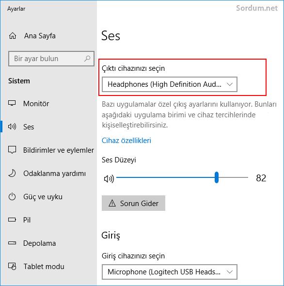 windows 10 çıktı cihazı